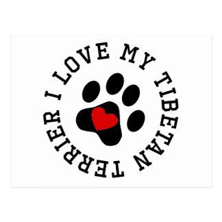 I Love My Tibetan Terrier Post Cards