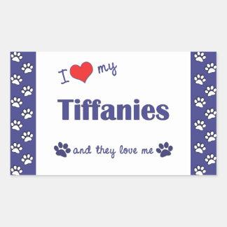 I Love My Tiffanies (Multiple Cats) Rectangular Sticker