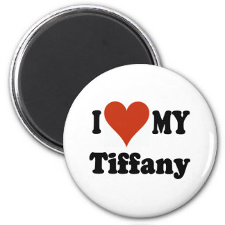 I Love My Tiffany Cat 2 Inch Round Magnet