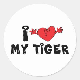 I Love My Tiger Classic Round Sticker