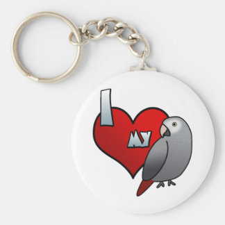 I Love my Timneh African Grey Keychains