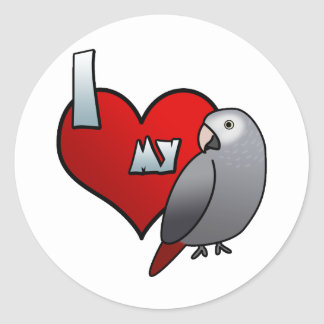 I Love my Timneh African Grey Stickers