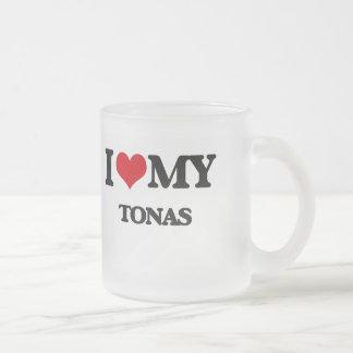 I Love My TONAS Frosted Glass Coffee Mug
