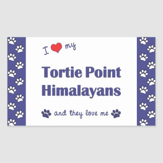 I Love My Tortie Point Himalayans (Multiple Cats) Rectangular Sticker