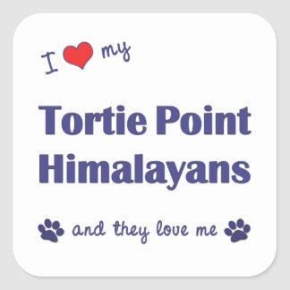 I Love My Tortie Point Himalayans (Multiple Cats) Square Sticker