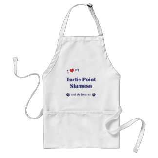 I Love My Tortie Point Siamese (Female Cat) Adult Apron