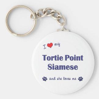 I Love My Tortie Point Siamese (Female Cat) Keychain