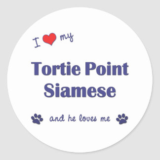 I Love My Tortie Point Siamese (Male Cat) Classic Round Sticker