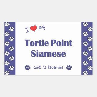 I Love My Tortie Point Siamese (Male Cat) Rectangular Sticker