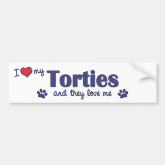 I Love My Torties (Multiple Cats) Bumper Sticker