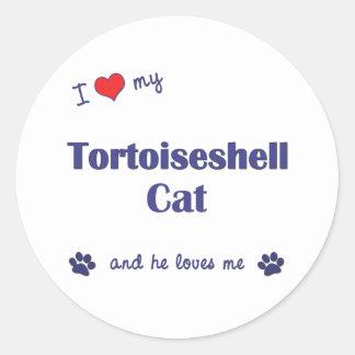 I Love My Tortoiseshell Cat (Male Cat) Classic Round Sticker