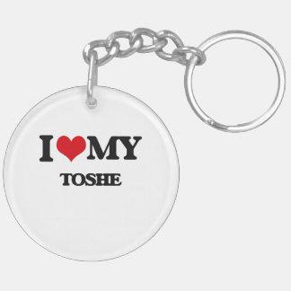 I Love My TOSHE Double-Sided Round Acrylic Keychain