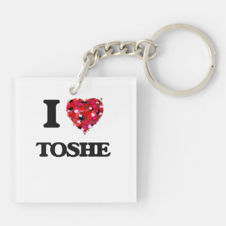 I Love My TOSHE Double-Sided Square Acrylic Keychain