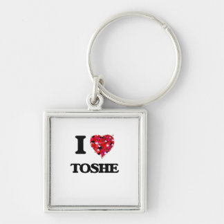I Love My TOSHE Silver-Colored Square Keychain