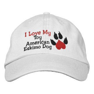 I Love My Toy American Eskimo Dog Paw Print Embroidered Hat
