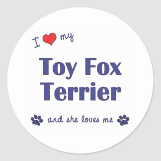 I Love My Toy Fox Terrier (Female Dog) Classic Round Sticker