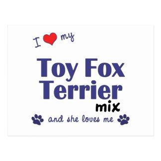 I Love My Toy Fox Terrier Mix (Female Dog) Postcard