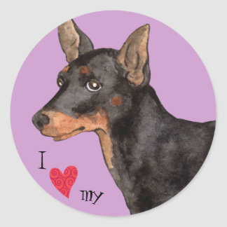 I Love my Toy Manchester Terrier Classic Round Sticker