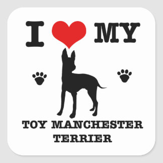 I Love my Toy manchester Terrier Square Sticker