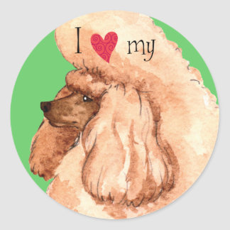 I Love my Toy Poodle Classic Round Sticker