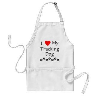 I Love My Tracking Dog (paw prints) Adult Apron