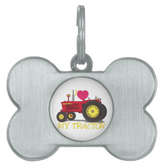 I Love My Tractor Pet ID Tag