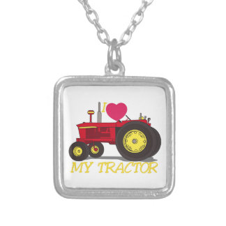 I Love My Tractor Silver Plated Necklace