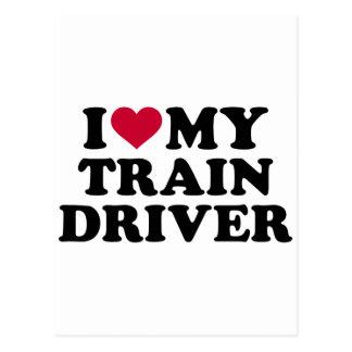 I love my train driver postcard