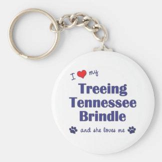 I Love My Treeing Tennessee Brindle (Female Dog) Basic Round Button Keychain
