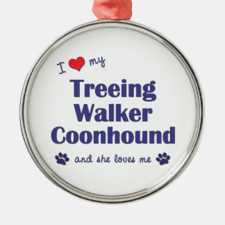 I Love My Treeing Walker Coonhound (Female Dog) Metal Ornament