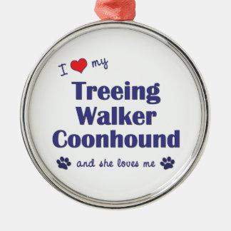 I Love My Treeing Walker Coonhound (Female Dog) Metal Ornament