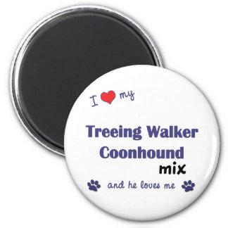 I Love My Treeing Walker Coonhound Mix (Male Dog) 2 Inch Round Magnet
