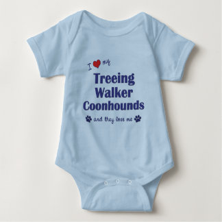 I Love My Treeing Walker Coonhounds (Multi Dogs) Baby Bodysuit