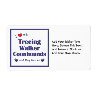 I Love My Treeing Walker Coonhounds (Multi Dogs) Label