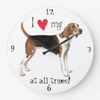 I Love my Treeing Walker Large Clock