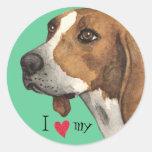 I Love my Treeing Walker Round Sticker