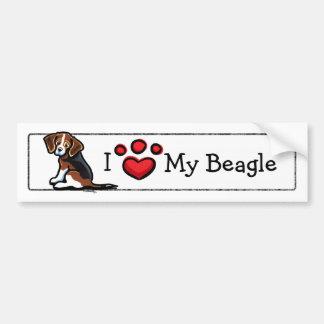 I Love My Tricolor Beagle Bumper Stickers