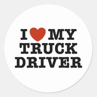 I Love My Truck Driver Classic Round Sticker