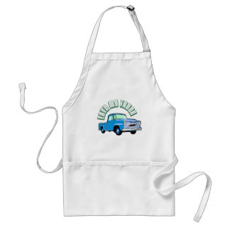I love my truck - Old, classic blue pickup Aprons