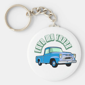 I love my truck - Old, classic blue pickup Keychain