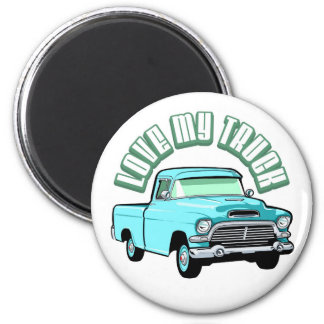 I love my truck - Old, classic blue pickup Magnet