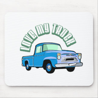 I love my truck - Old, classic blue pickup Mouse Pads