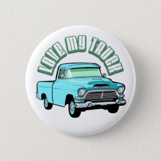 I love my truck - Old, classic blue pickup Pinback Button