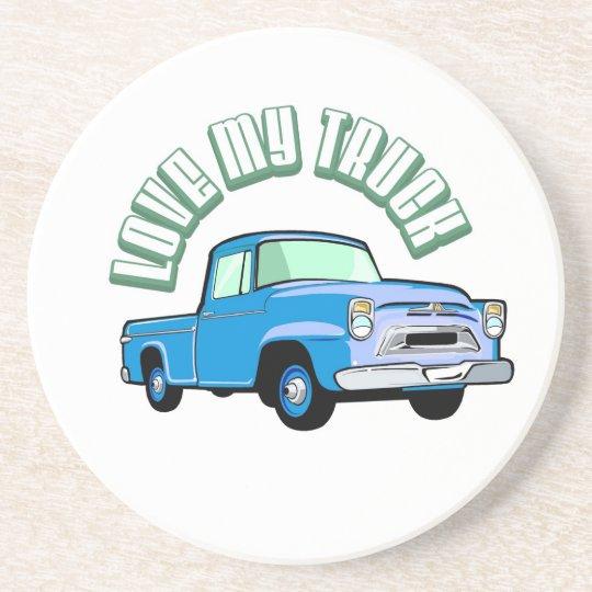 I love my truck - Old, classic blue pickup Sandstone Coaster