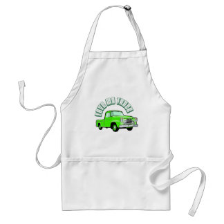 I love my truck - Old, classic green pickup Adult Apron