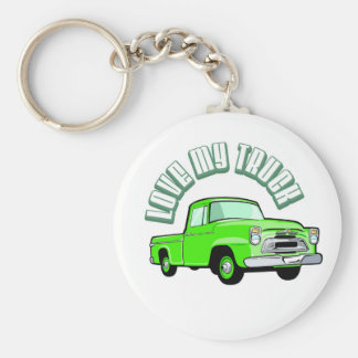 I love my truck - Old, classic green pickup Keychain