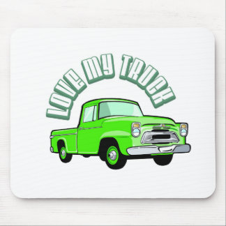 I love my truck - Old, classic green pickup Mousepads