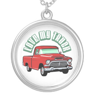 I love my truck - Old, classic or vintage vehicle Silver Plated Necklace