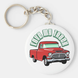 I love my truck - Old, classic red pickup Basic Round Button Keychain