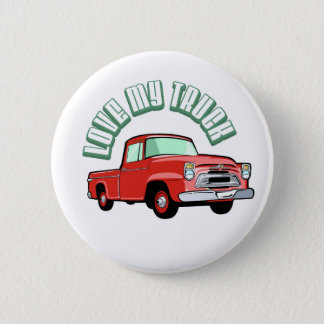 I love my truck - Old, classic red pickup Button